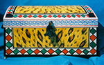 Hand Painted Leopard Box by Eugenia Talbott: original hand painted box in a leopard pattern with African motif, from her collection of one of a kind art, decor and furnishings for the home. Custom orders are gladly accepted.
