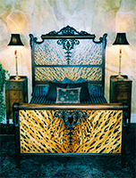 Hand Painted Antique Bed by Eugenia Talbott: original hand painted antique bed in a leopard pattern, from her collection of one of a kind art, decor and furnishings for the home. This exciting piece has been sold - Custom orders are gladly accepted.