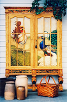 Antique Hutch, Hand Painted with Birds by Eugenia Talbott: original hand painted antique hutch with faux finishes, decorative accents and artwork featuring a rooster, peacock and goose, from her collection of one of a kind art, decor and furnishings for the home. This exciting piece has been sold - Custom orders are gladly accepted.
