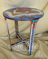 Vintage Table with a hand painted fringed scarf motif: 24 inch diameter top, 29 inches high. Custom orders are gladly accepted. Custom orders are gladly accepted.