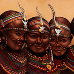 Portrait of Samburu Girls, original oil painting of a group of African Samburu girls in native tribal dress by Eugenia Talbott