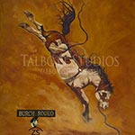 Lunatic Fringe, original oil painting of the legendary saddle bronc by Eugenia Talbott Adderson. The painting was commissioned by the future father-in-law of Matt Burch, co-owner of Burch Rodeo Company and Lunatic Fringe. Lunatic Fringe retired from rodeo in 2016.