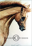 Portrait of M.T. Dubai, original watercolor painting of a chestnut Arabian horse by Eugenia Talbott