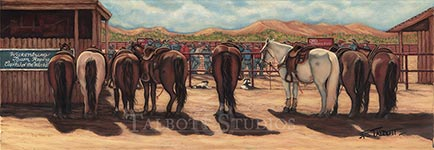 'Waiting for the Short-Go' depicts the horses of the team ropers who have made the last round to determine the champions. I'm always in awe of the horses and what athletes they are-one minute horse and rider racing after the steer in breakneck speeds, then calmly waiting until they are called upon again. - Eugenia Talbott Adderson, Talbott Studios. Premium quality limited edition reproductions are available.