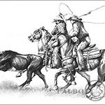 Arizona Ropers, original graphite drawing of a team of calf ropers in action by Eugenia Talbott
