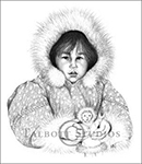 Portrait of Ginny, original graphite drawing of an Inuit Girl from Churchill, Manitoba, Canada by Eugenia Talbott