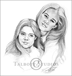 Portrait of Kylee & Whitney, original graphite drawing of the artist's granddaughters by Eugenia Talbott