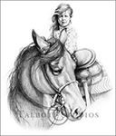 Portrait of Shelby, original graphite drawing of a little girl on her horse by Eugenia Talbott