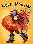 Full color Logo for Rusty Rooster gallery in Wickenburg, AZ by Eugenia Talbott.