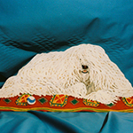 Free standing painting of a Komondor, painted on wood