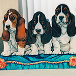 Free standing painting of Basset Hounds, painted on wood
