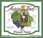 Wine label for 2014 Pinot Noir produced by Aurora Vineyards by Eugenia Talbott.