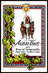 Wine label for 2015 Rosé of Tempranillo produced by Aurora Vineyards by Eugenia Talbott.