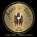 Wine label for 2014 Syrah produced by Aurora Vineyards by Eugenia Talbott.