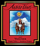 Wine label for 2015 Viognier produced by Aurora Vineyards by Eugenia Talbott.